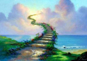 La escalera representa la elevación espiritual en cada nivel que caminamos al ascender